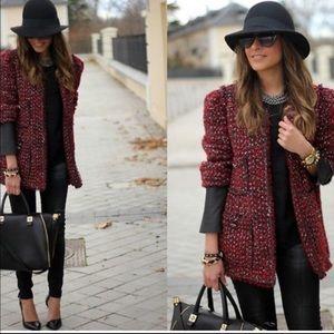 Zara Woman Red Tweed Leather Blazer